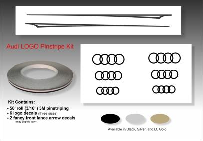 Audi pinstripe logo emblem decal kit emblem logo vinyl decal pinstripe graphic sticker stripe