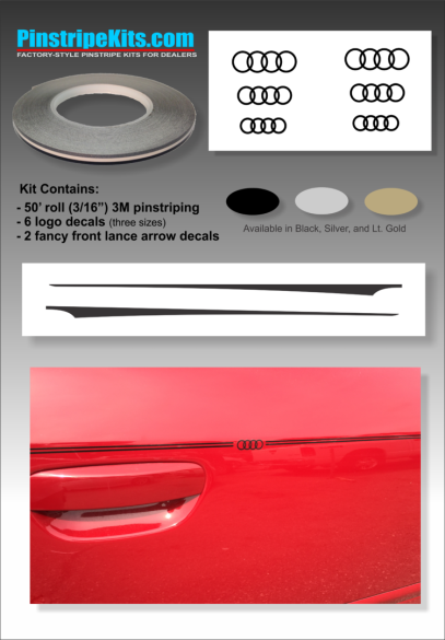 Audi A3, A4, A6, Q3, Q5, Q7pinstripe logo emblem decal kit emblem logo vinyl decal pinstripe graphic sticker stripe