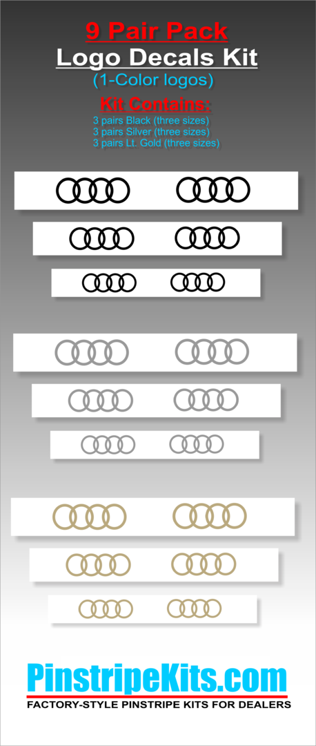 Audi emblem logo decal 6 pair pack kit